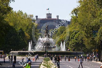The Fountain of Diana Cazadora located on the Paseo de la Reforma and Chapultapec Castle in Mexico City, Mexico.