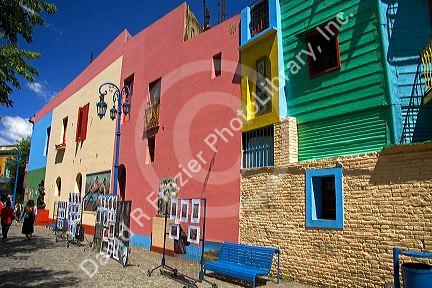 Colorful buildings in the La Boca barrio of Buenos Aires, Argentina.