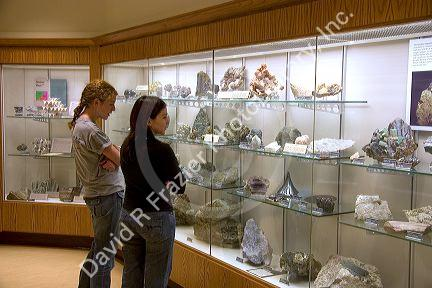 Students look at displays of rocks and fossils in the McDonnel Center for Earth and Planetary Science at Washington University, St. Louis, Missouri.