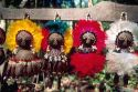 Four colorful amazon indian dolls in Manaus Brazil.