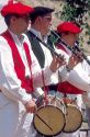 Basque musicians play flutes and drums at a festival in Boise Idaho.