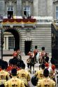 Trooping the Colour in London, England.  Queen Elizabeth II on horseback in front of Buckingham Palace.