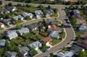 Aerial view of suburban homes in Columbia Village subdivision, Boise, Idaho.
