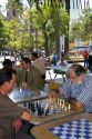 Chilean men play chess in the Plaza de Armas in Santiago, Chile.